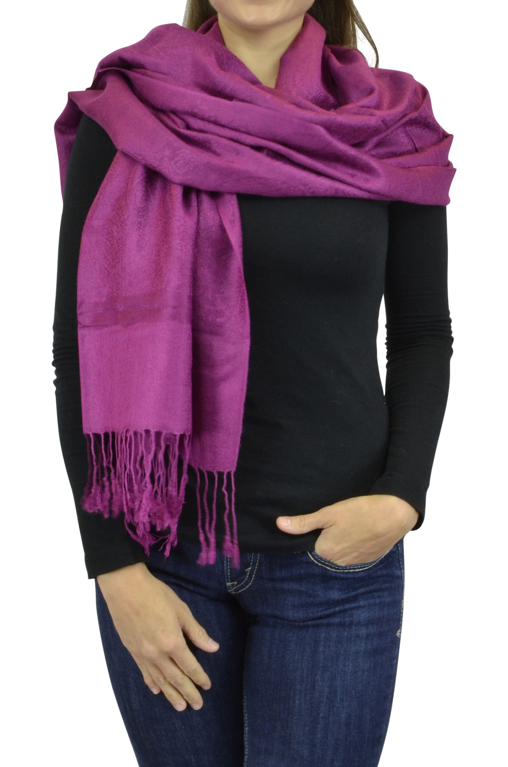 Belle Donne Women's Paisley Pashmina Shawl Wrap Scarf - Dark Purple