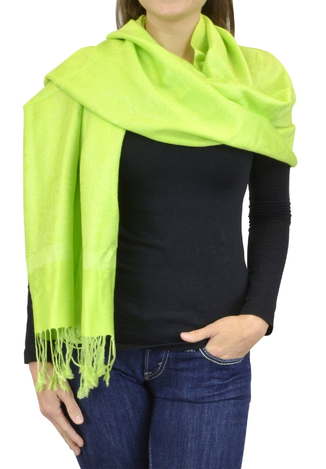 Belle Donne Women's Paisley Pashmina Shawl Wrap Scarf - Kelly Green