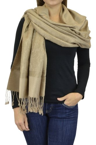 Belle Donne Women's Paisley Pashmina Shawl Wrap Scarf - Khaki