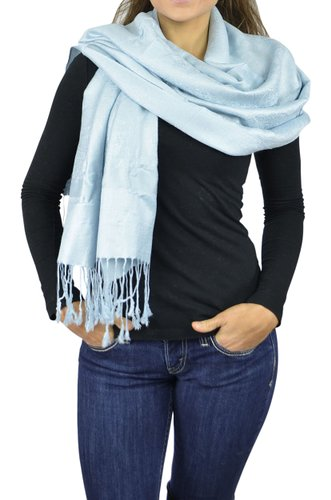 Belle Donne Women's Paisley Pashmina Shawl Wrap Scarf - Light Blue