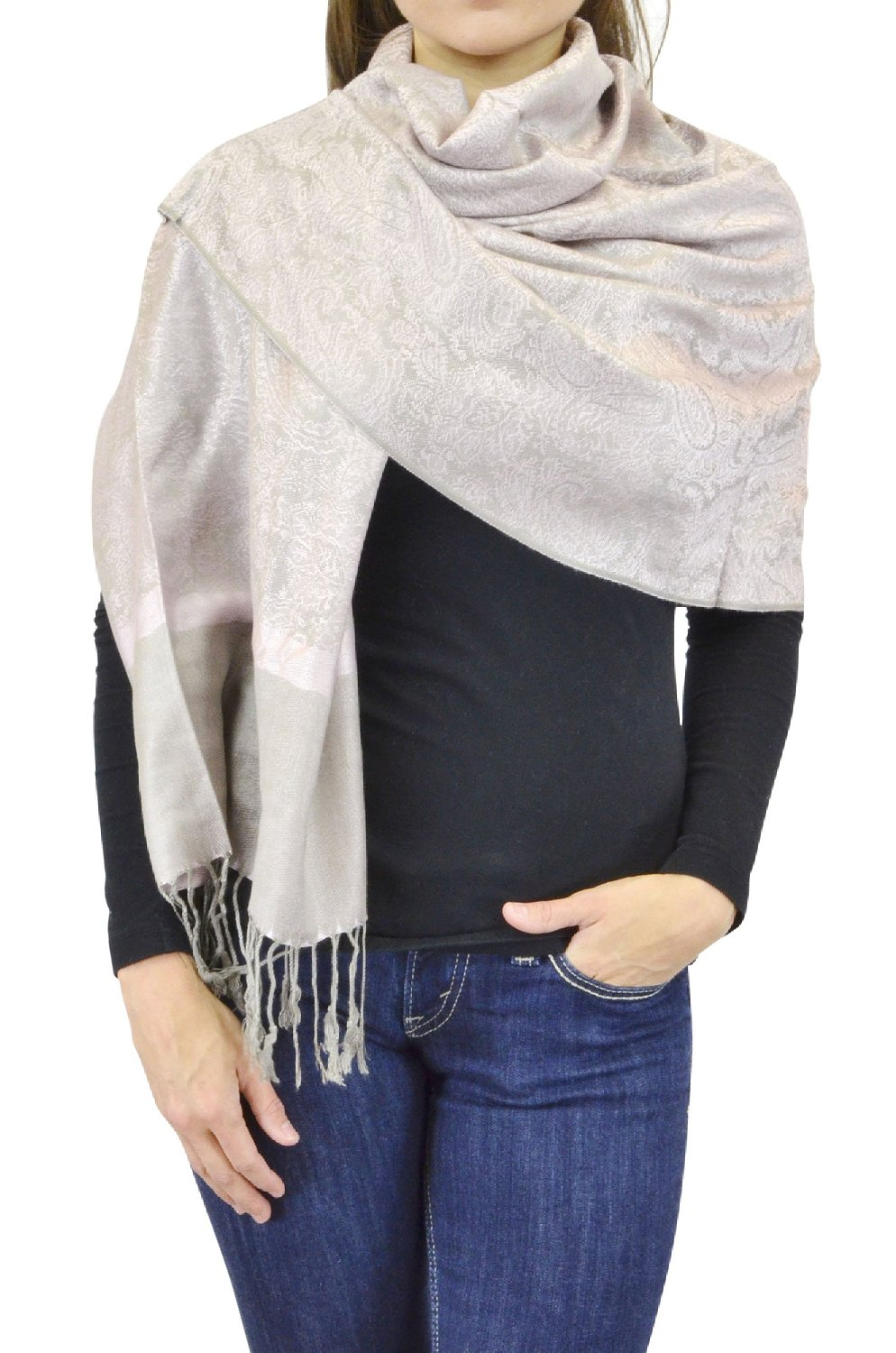 Belle Donne Women's Paisley Pashmina Shawl Wrap Scarf - Light Pink Gray