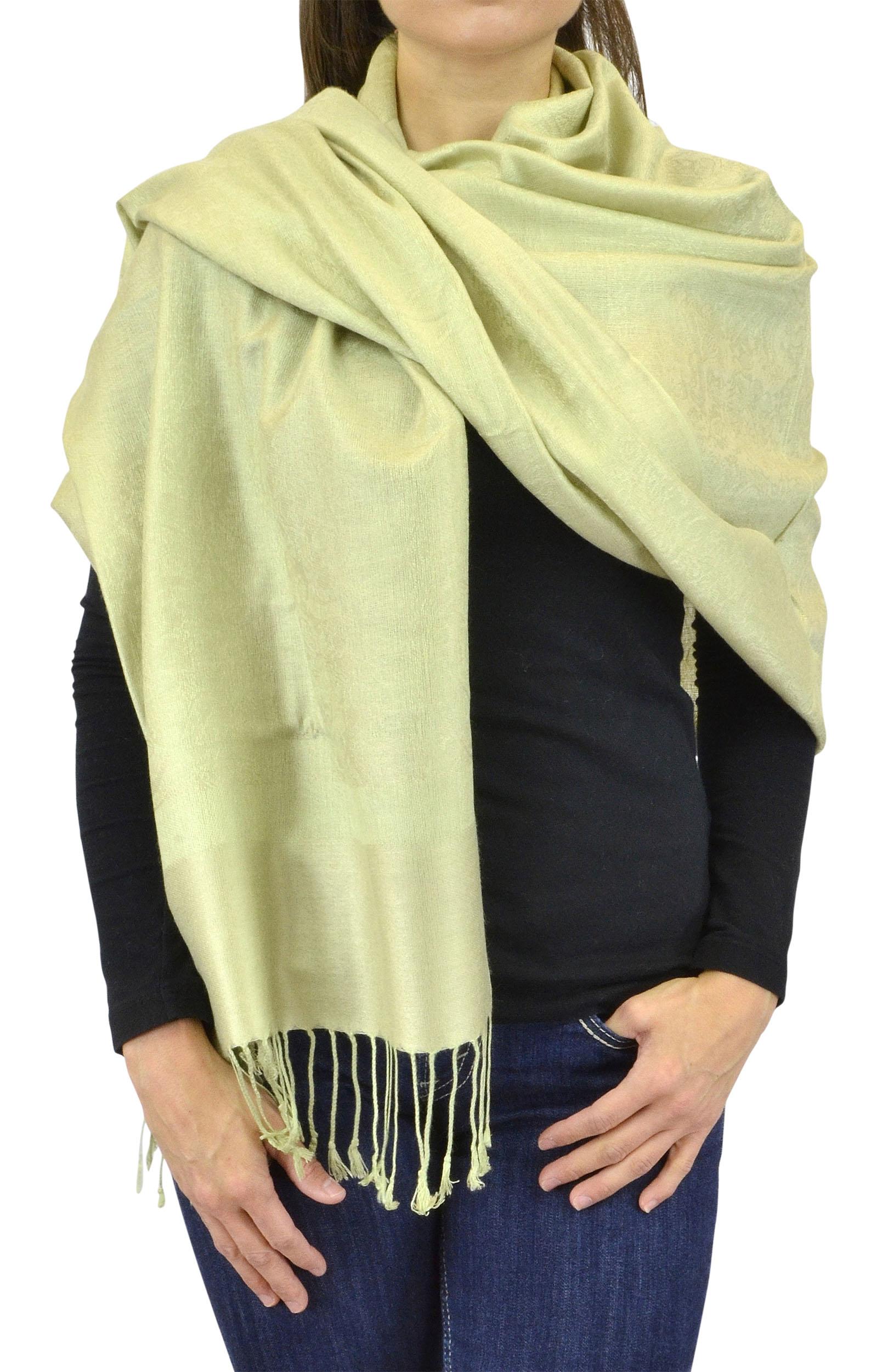 Belle Donne Women's Paisley Pashmina Shawl Wrap Scarf - Lime