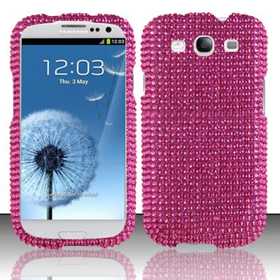 For Samsung Galaxy S3 III i9300 - Full Diamond Cover - Hot Pink FPD
