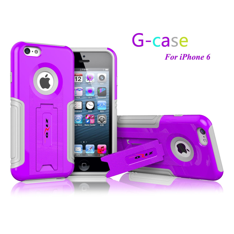 For iPhone 6 - GCASE PC + Gray TPU Combo Cover w/ Kickstand - Purple HYB