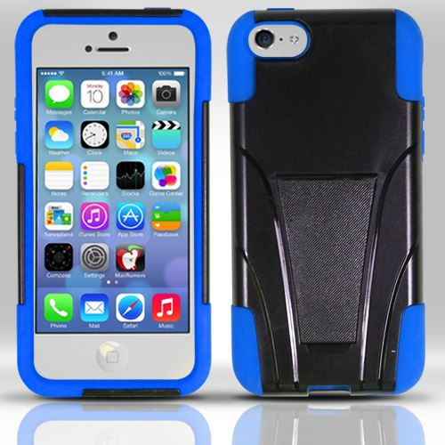 For iPhone 5c - PC+Silicon Hybrid Cover w/ KickStand - Blue HYB