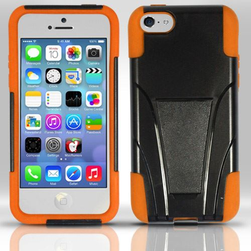 For iPhone 5c - PC+Silicon Hybrid Cover w/ KickStand - Orange HY