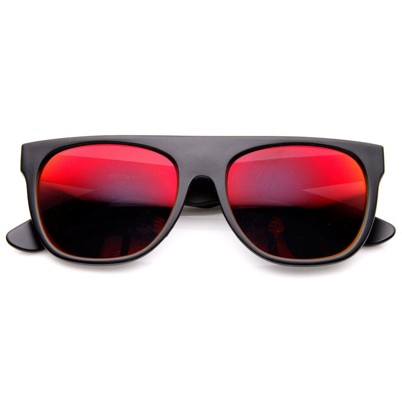 Retro Intense Revo Mirror Lens Super Flat Top Wayfarers Sunglasses- Red Lens