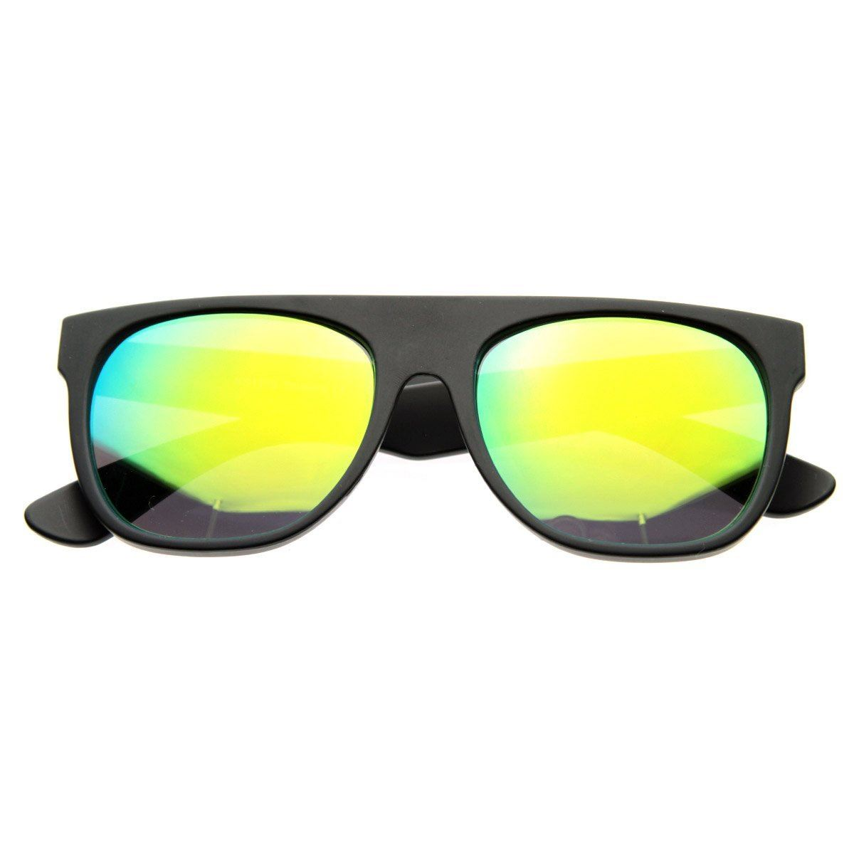 Retro Intense Revo Mirror Lens Super Flat Top Wayfarers Sunglasses- Yellow Lens