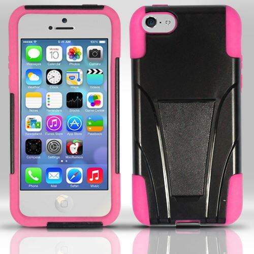 For iPhone 5c - PC+Silicon Hybrid Cover w/ KickStand - Pink HYB