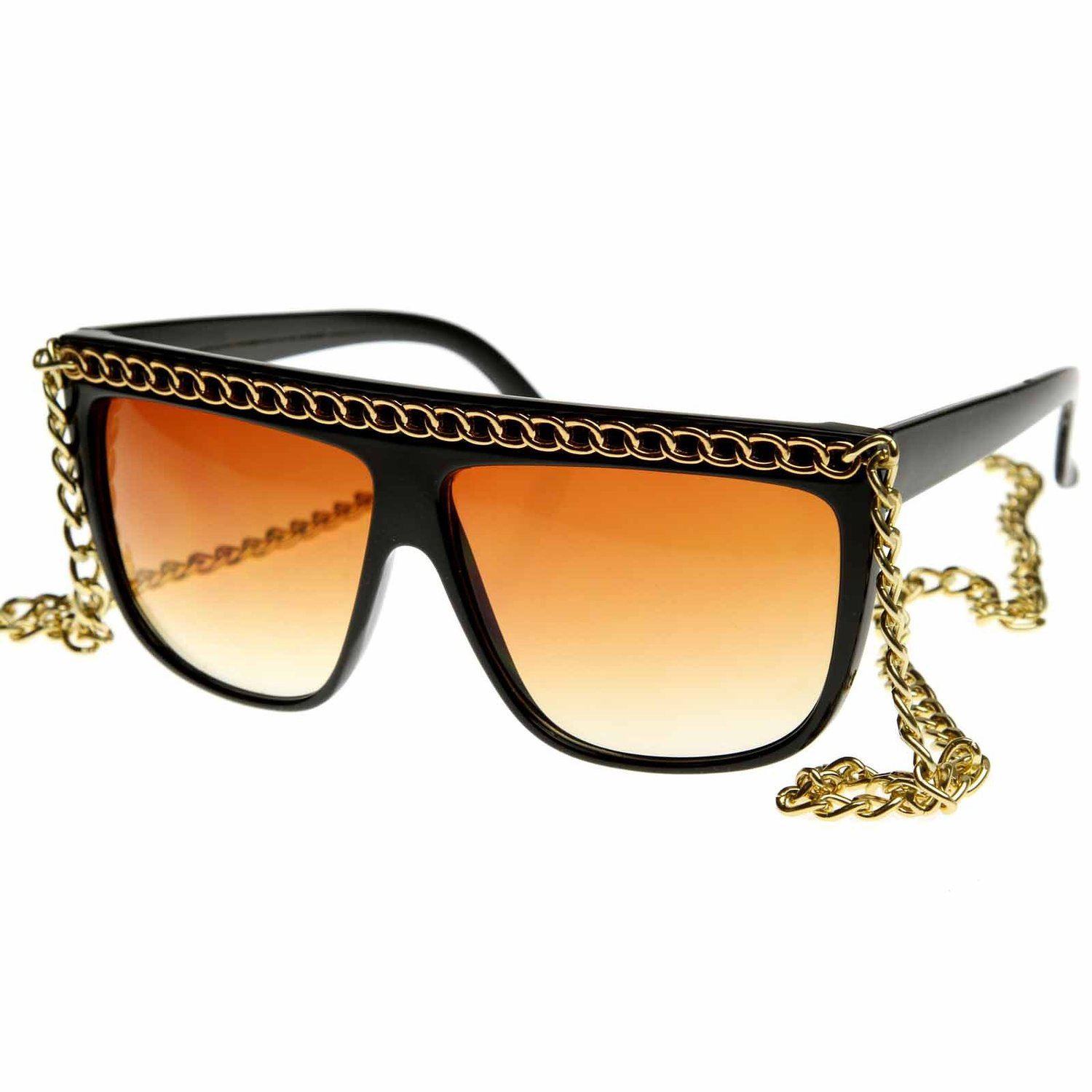 Celebrity Fab Chained Designer Inspired Fashion Glasses 12 Inch Chain - Brown