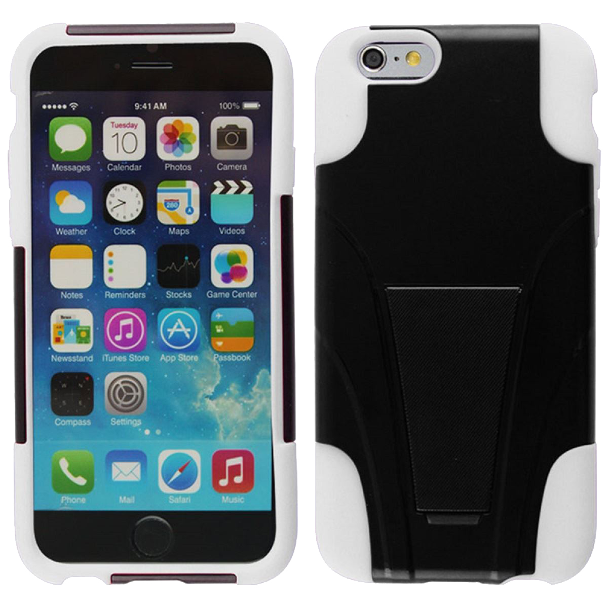 For iPhone 6 - HYBRID PC/SC Combo Cover w/ Kickstand - White HYB