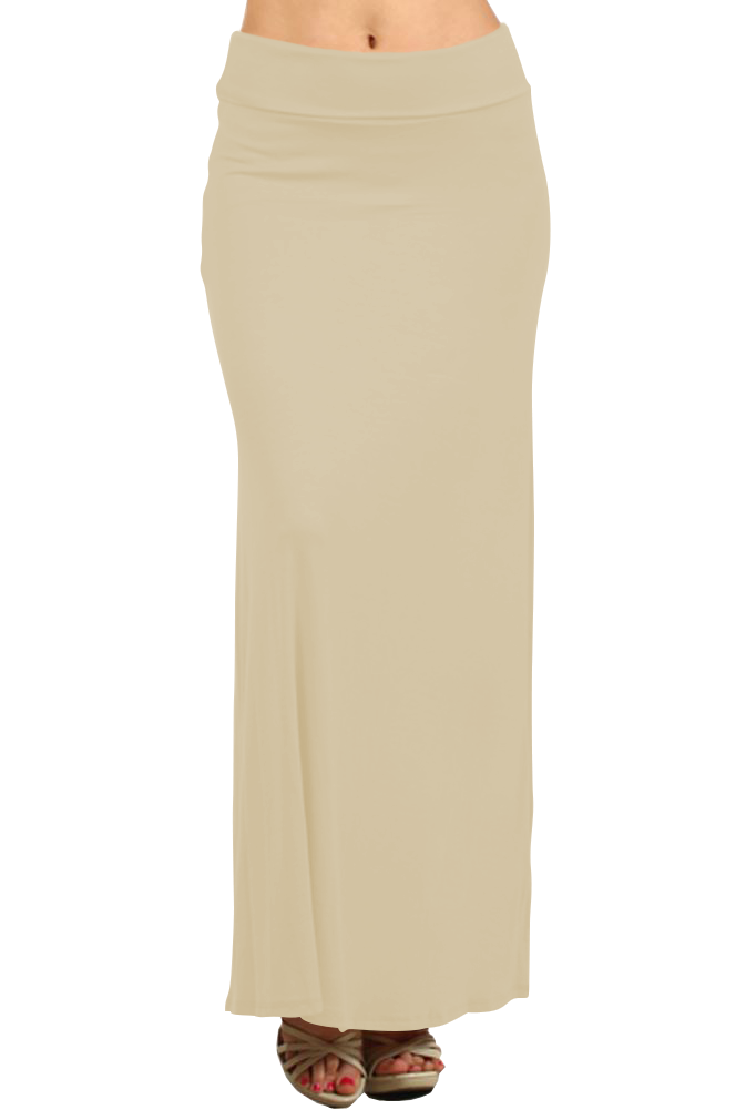 Belle Donne Women's Maxi Skirt Stretchy Full Length Solid Color Long Skirt - Light Khaki/