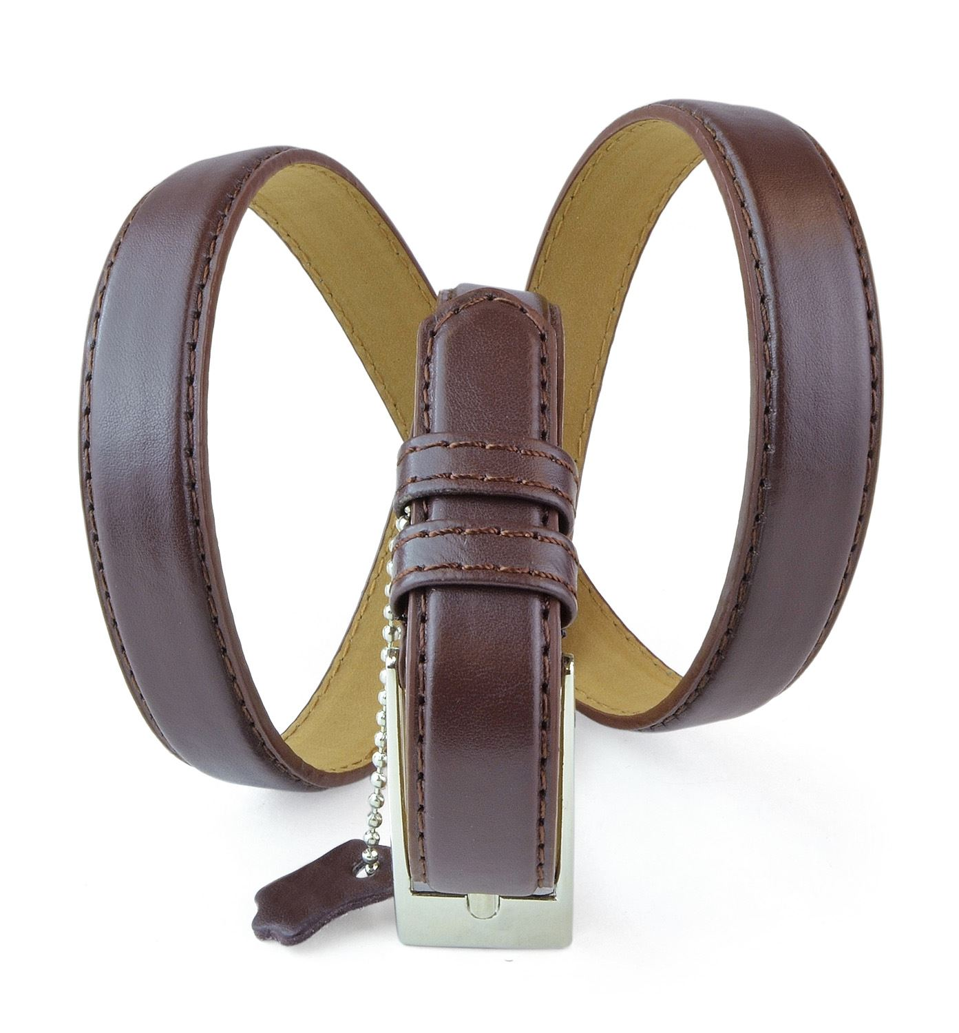 "Belle Donne - Women's Solid Color Faux Leather 3/4"" Belt - Brown - Medium"