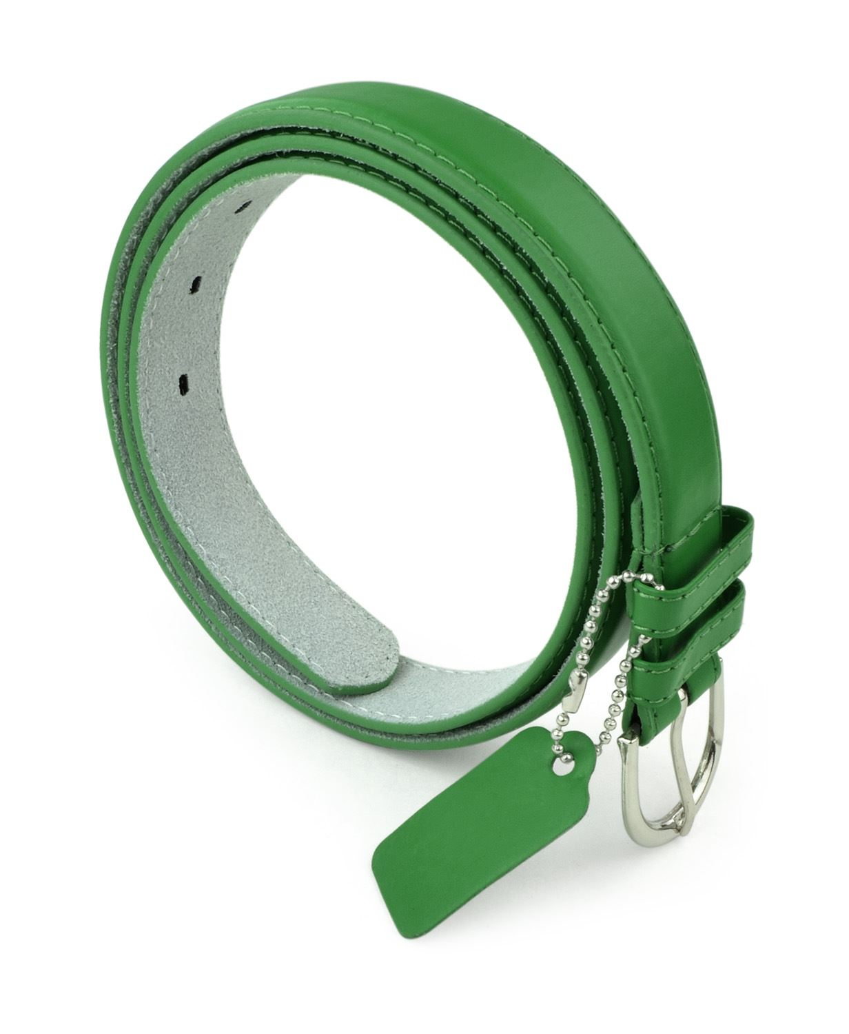 Womens Chic Dress Belt Bonded Leather Polished Buckle - KellyGreen Small
