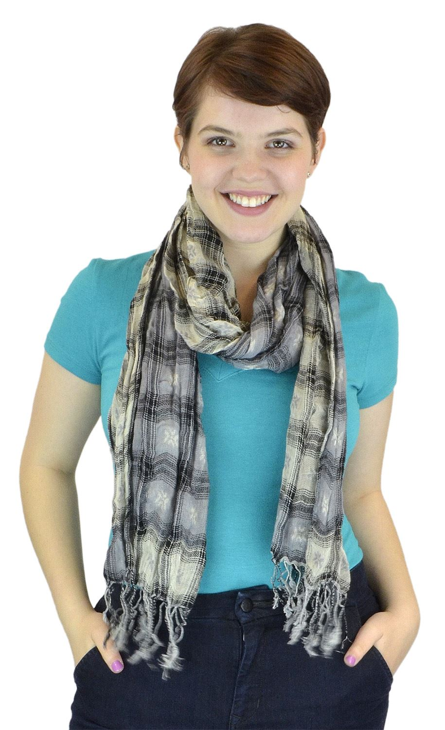 Belle Donne - Women's Fashion Scarves Plaid two toned Viscose Scarf - Gray