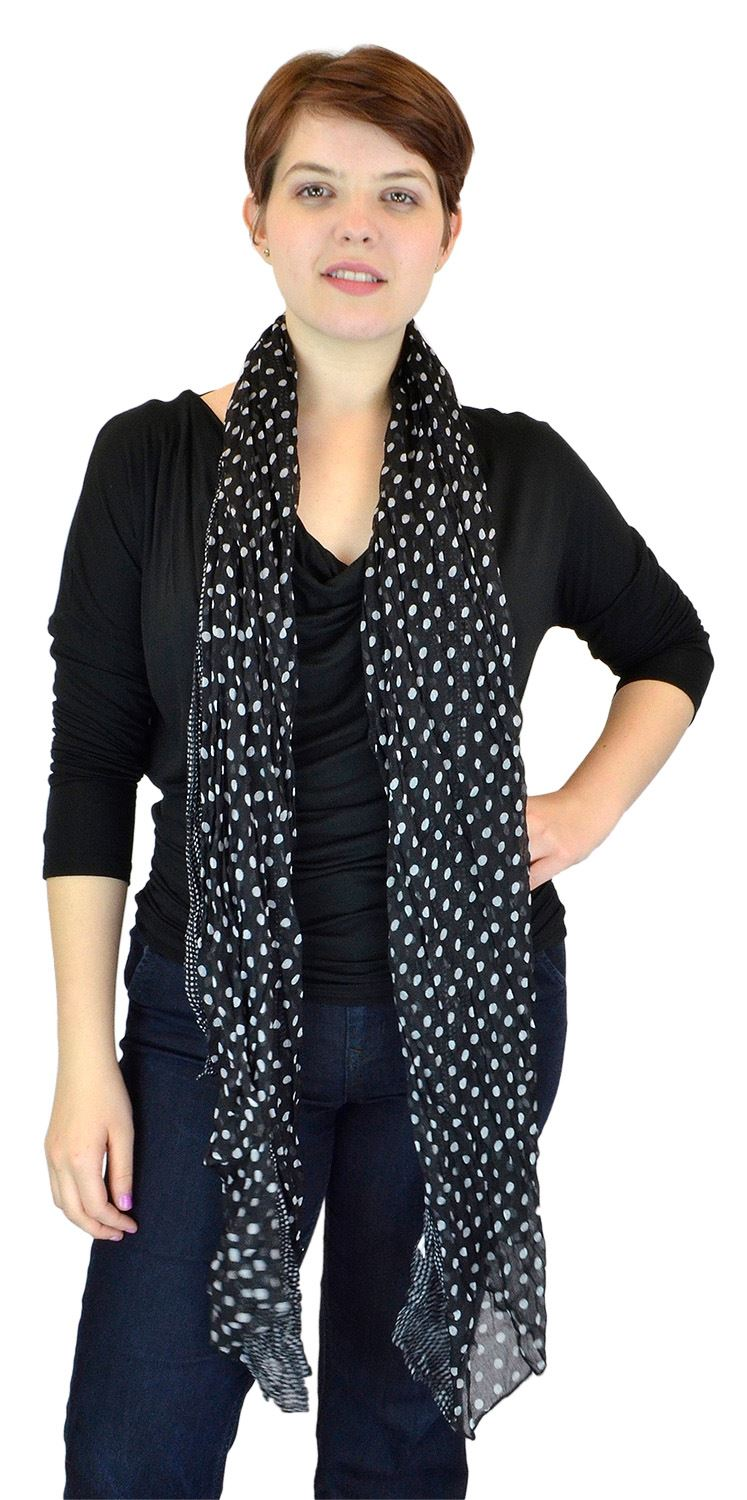 Belle Donne - Women Scarf Fashion Hop Dots Scarf Sheer Polka Scarf - Black