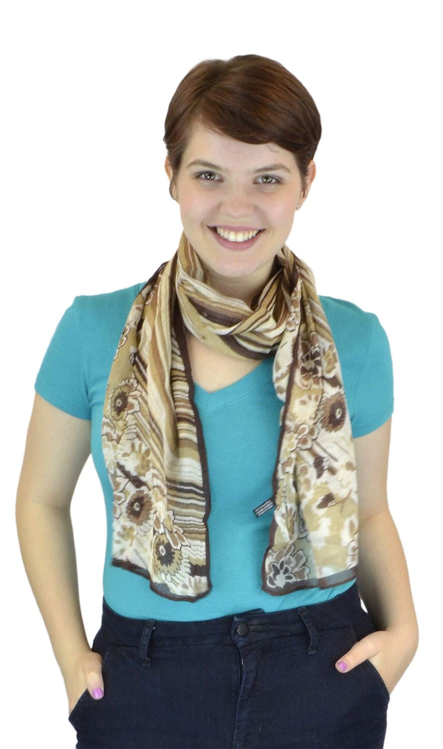 Belle Donne - Women Scarf Gradual Curves with Floral Viscose Scarf - Brown