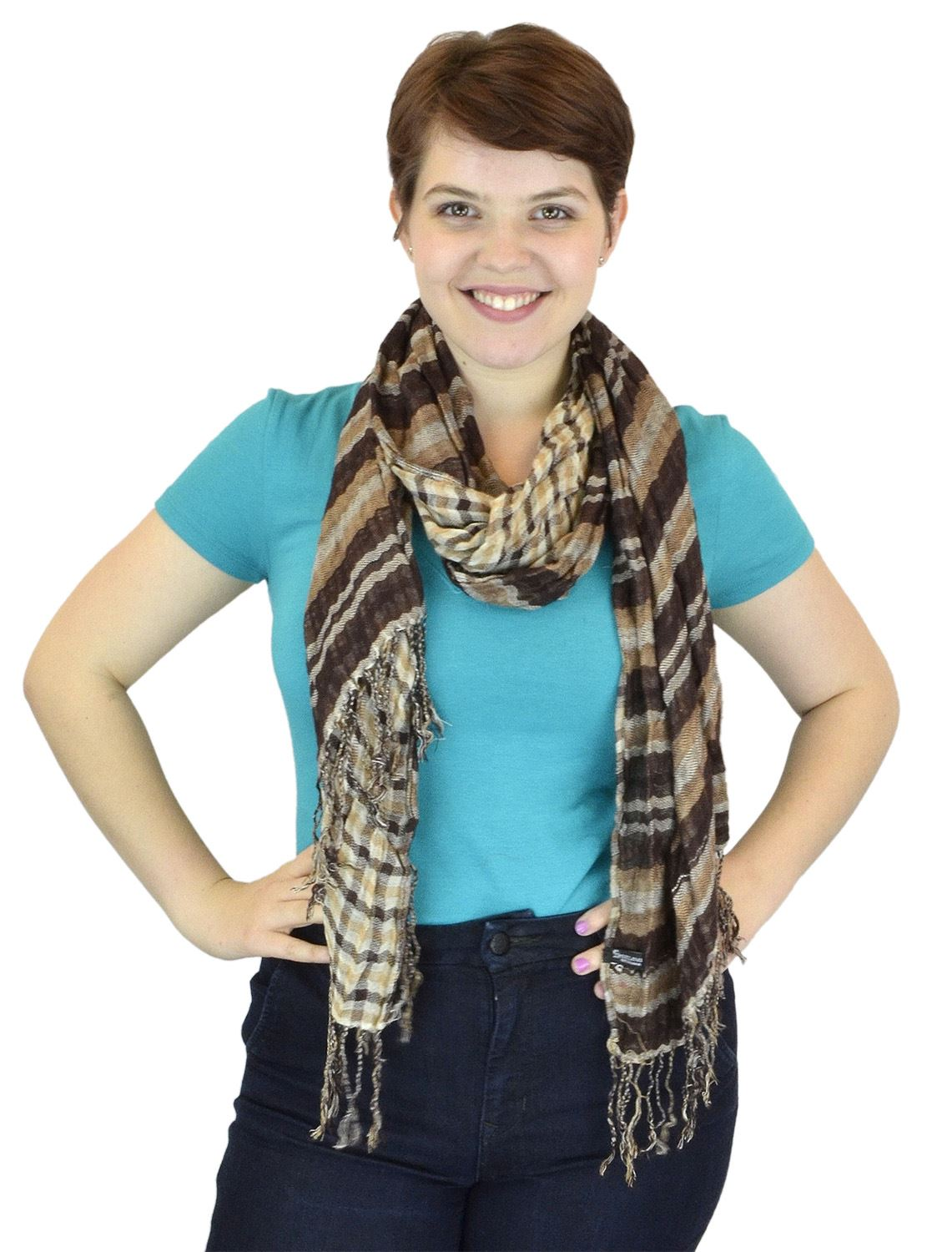 Belle Donne -Women Scarves Plaid and Stripe Scarf two toned Viscose Scarf -Taupe