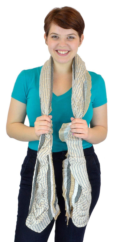 Belle Donne - Women's Celebration Stripes Polyester Scarf - Grey Beige