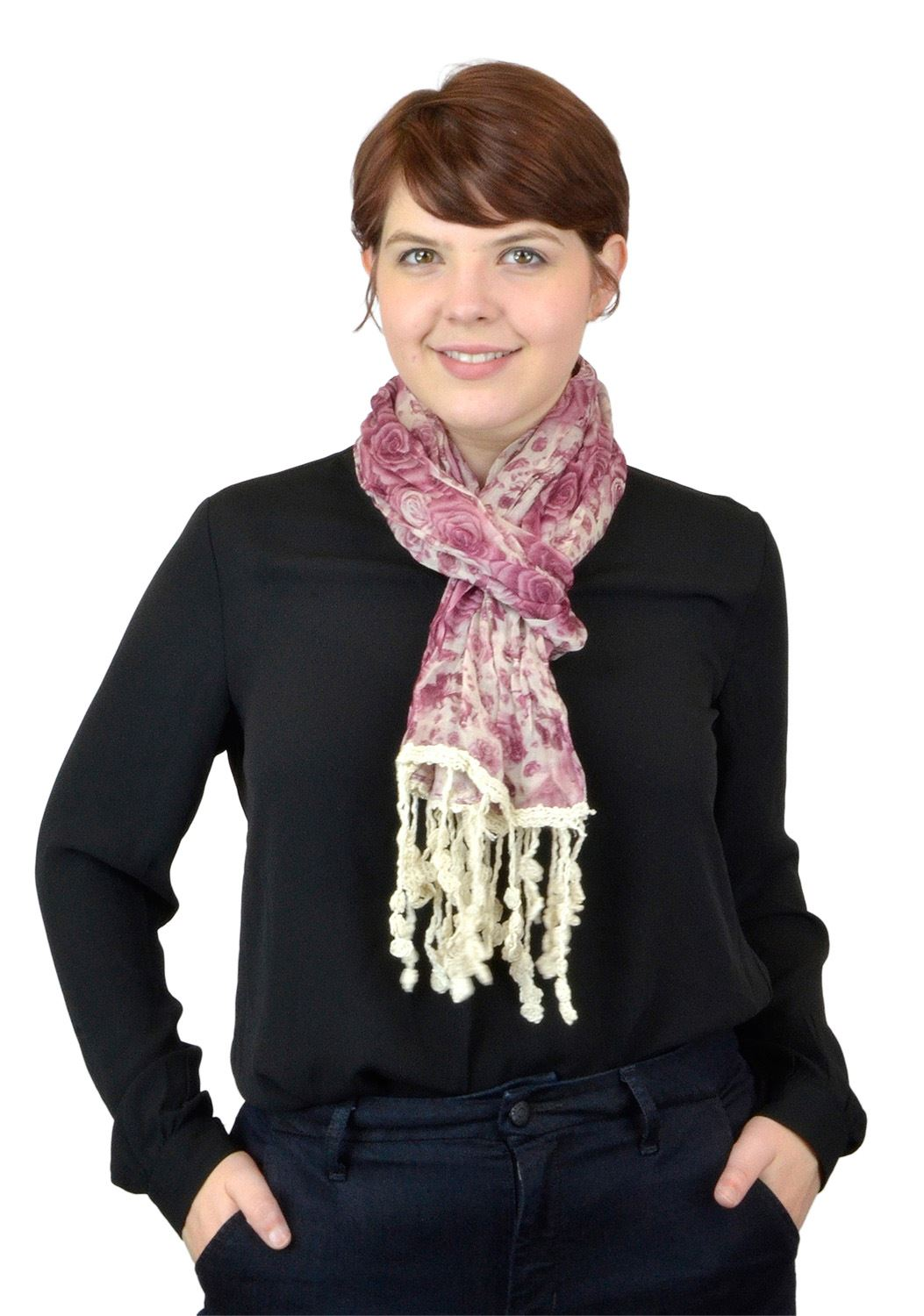 Belle Donne - Women Floral Scarf Viscose Scarf  Laced Scarves- Salmon