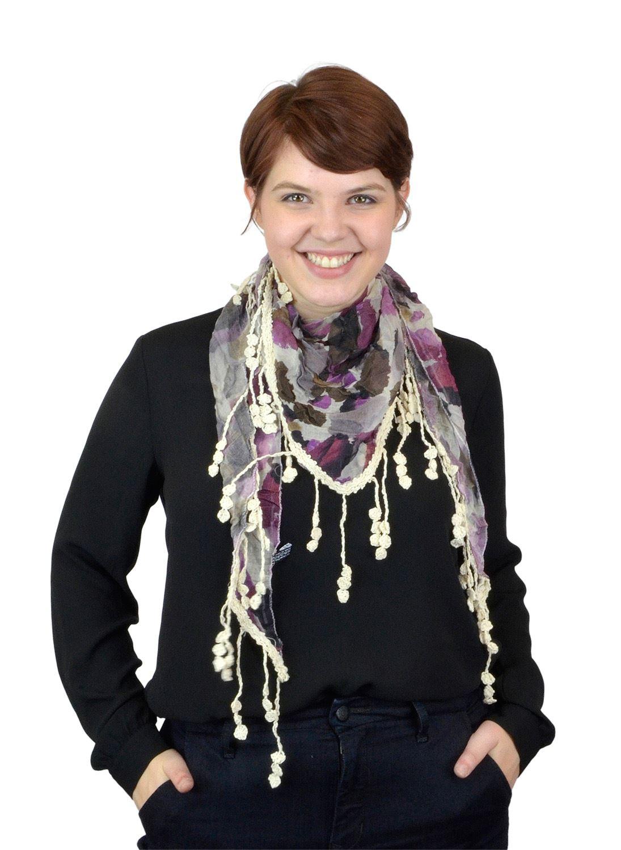 Belle Donne - Women's BG Falling Leaf Pattern 100% Viscose Laced Scarf - Purple