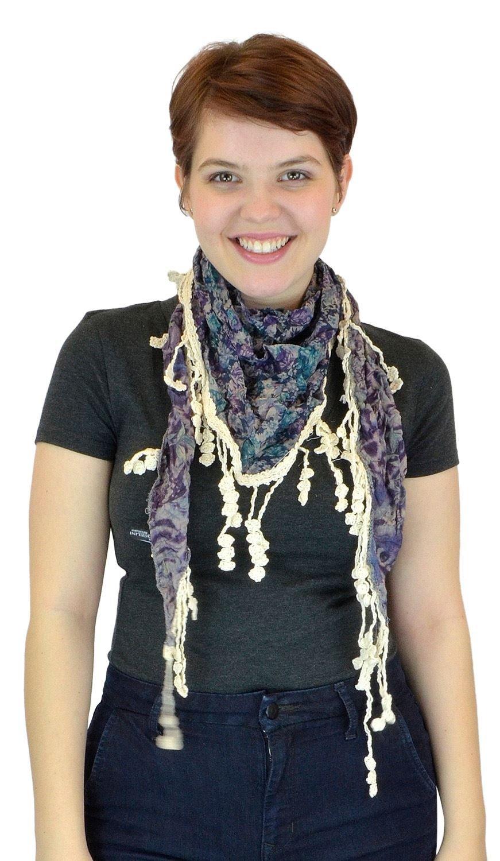 Belle Donne - Women's BG Floral Cluster Pattern 100% Viscose Laced Scarf - Green