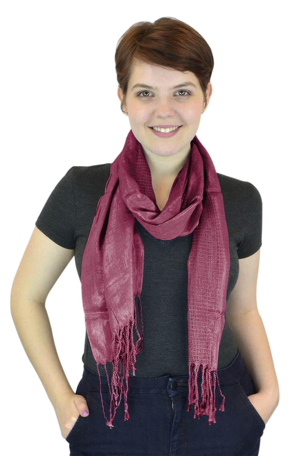 Belle Donne - Women's Everyday Sheer Polyester Scarf Casual Formal - Burgundy