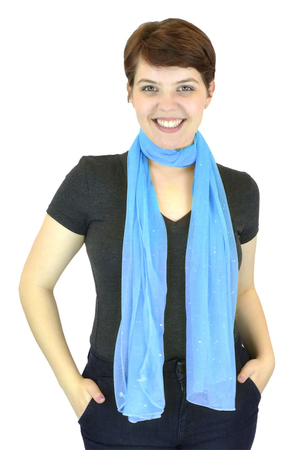 Belle Donne - Women's Solid Color Sheer Polyester Scarf Casual Formal - Baby Blue
