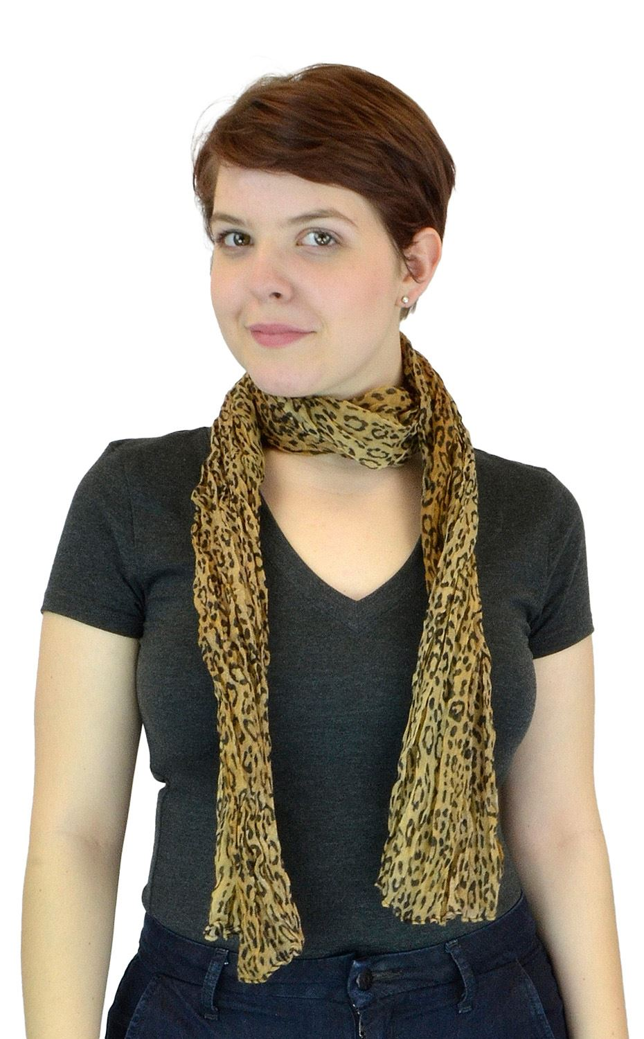 Belle Donne - Women's Leopard Pattern Sheer Polyester Scarf Formal Casual - Camel