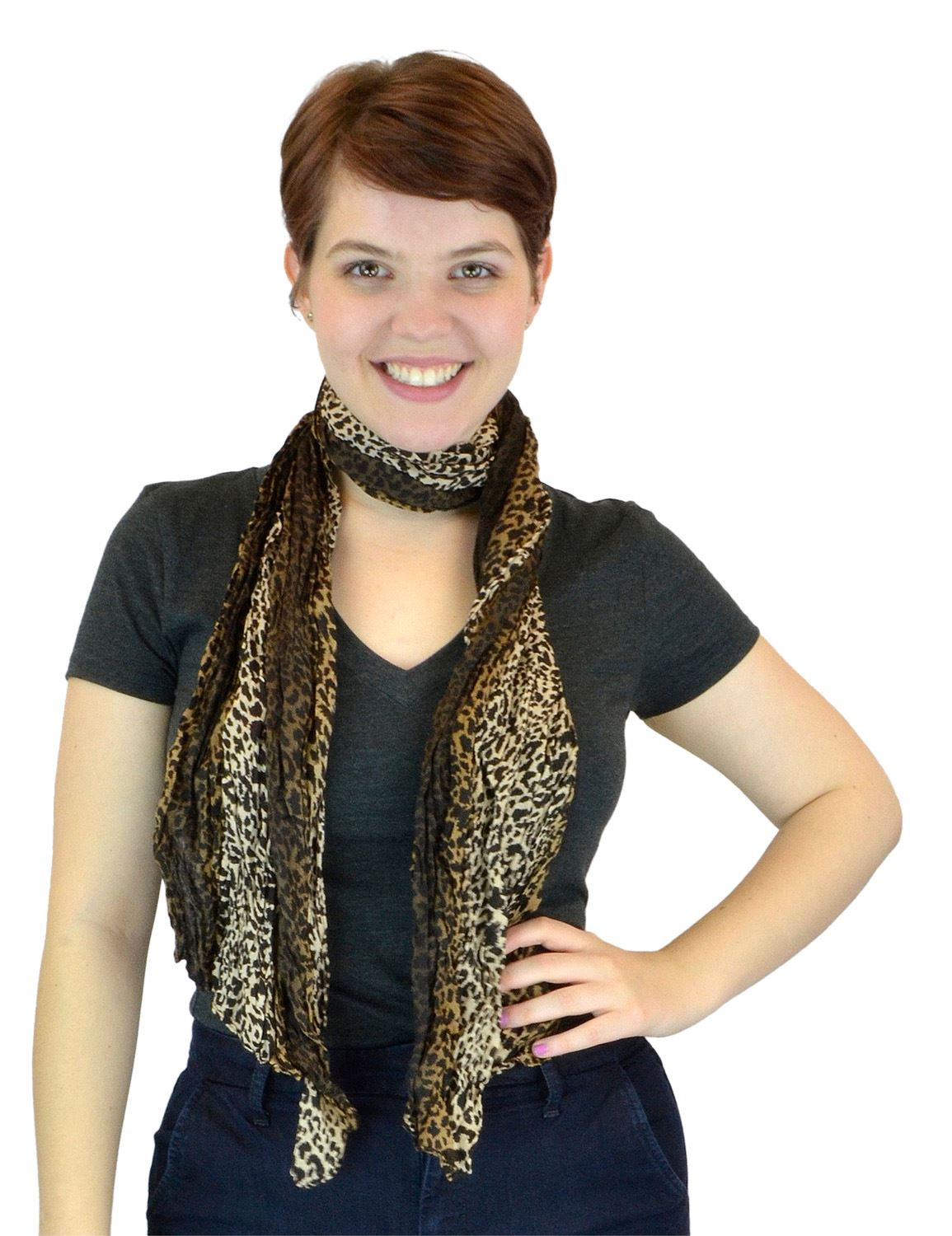 Belle Donne - Women's Leopard Pattern Sheer Polyester Scarf Formal Casual - Brown