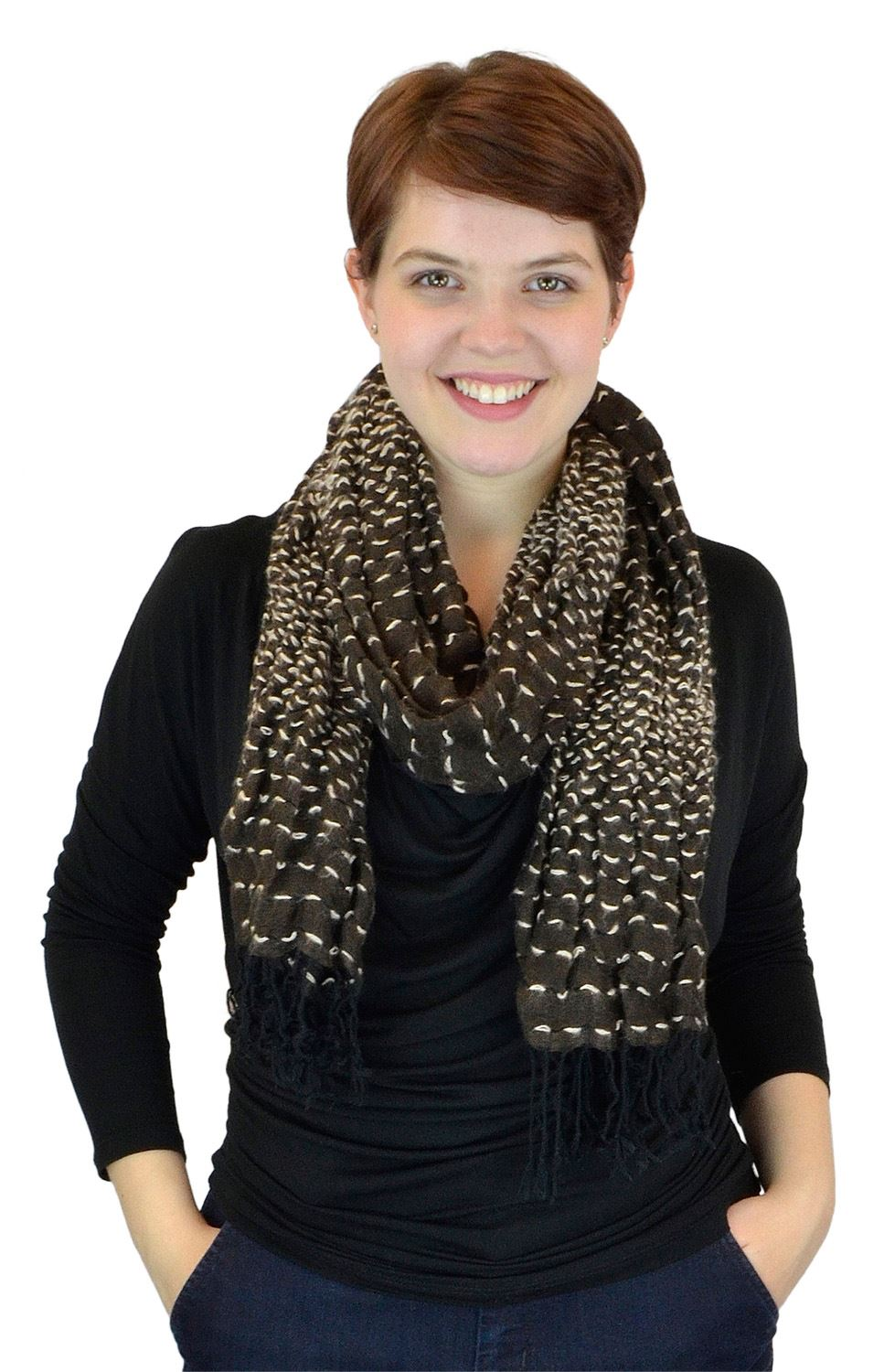 Belle Donne - Women's Interwoven Solid Multi Color Viscose Scarf - Brown
