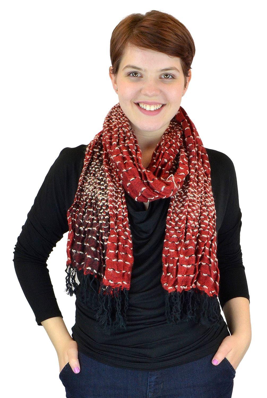 Belle Donne - Women's Interwoven Solid Multi Color Viscose Scarf - Red
