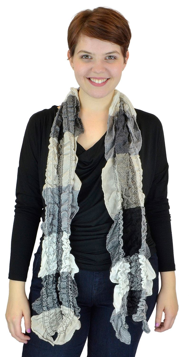 Belle Donne - women's Multicolor Light Crinkled Frilled Pattern Fringed End Scarf - Black
