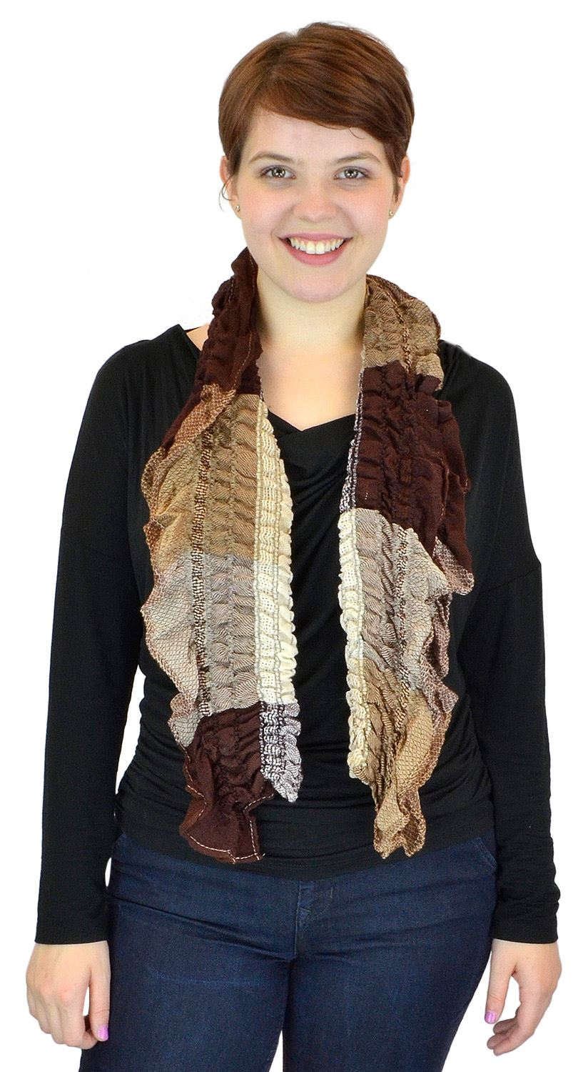 Belle Donne - women's Multicolor Light Crinkled Frilled Pattern Fringed End Scarf - Brown