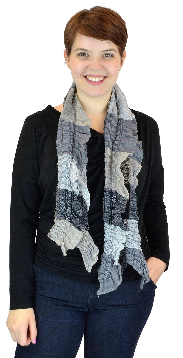 Belle Donne - women's Multicolor Light Crinkled Frilled Pattern Fringed End Scarf - Gray