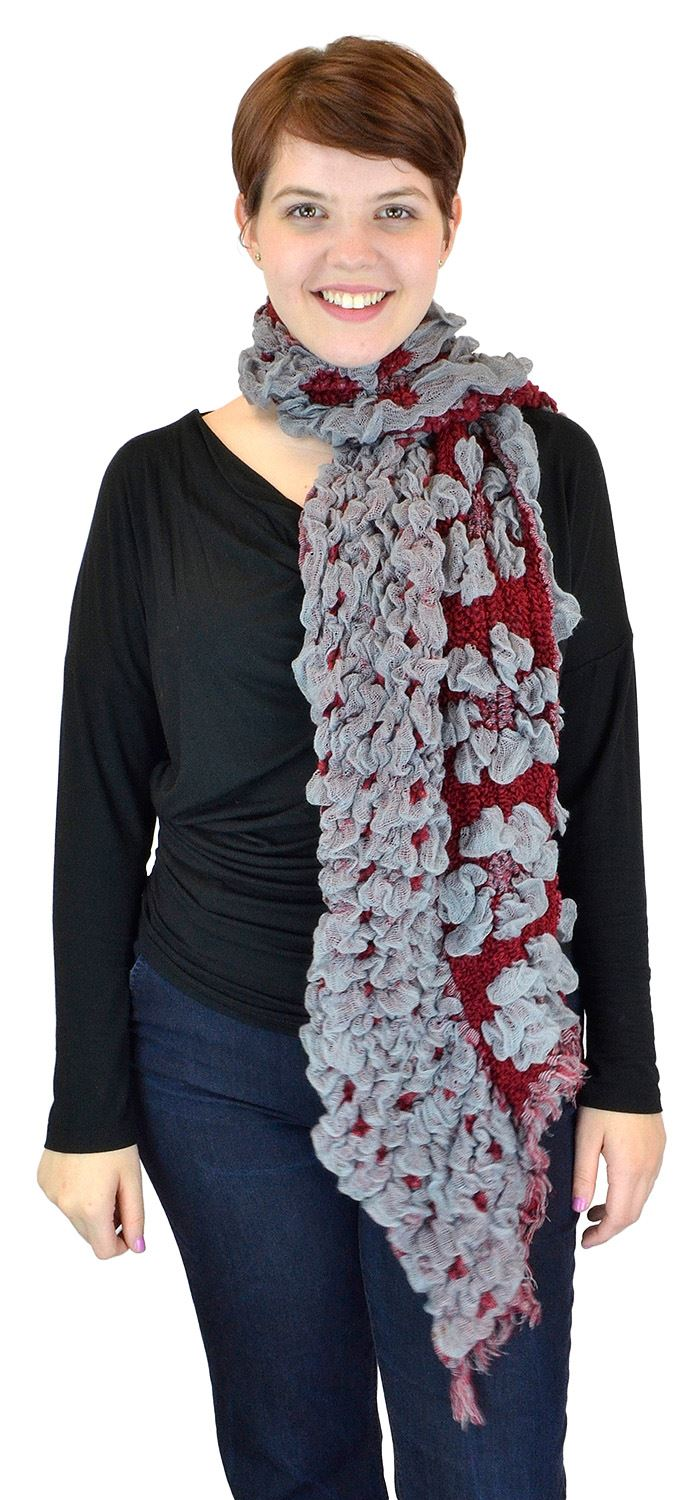 Belle Donne - women's Ruffly Floral Garden Viscose Scarf - Red