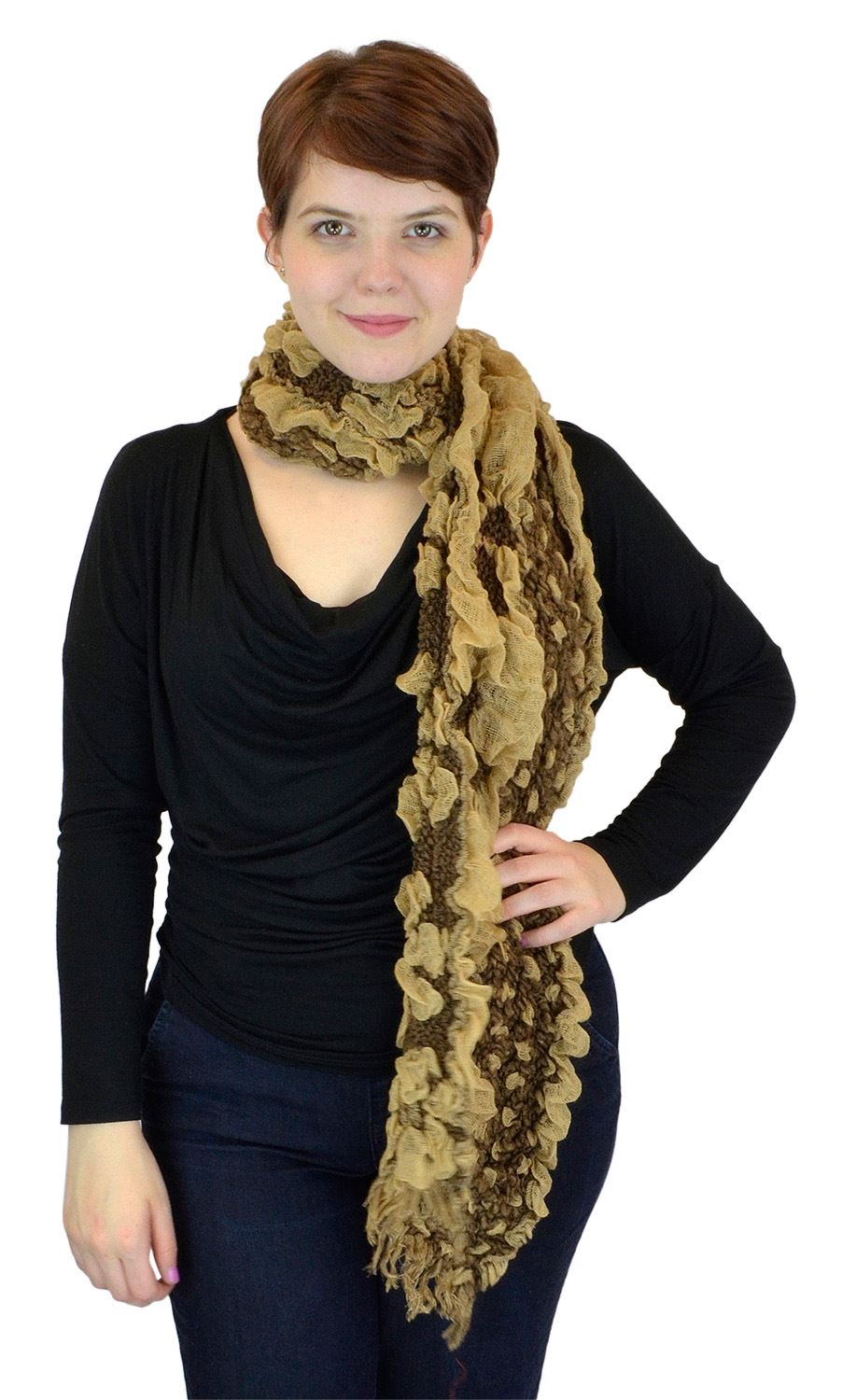 Belle Donne - women's Ruffly Floral Garden Viscose Scarf - Taupe