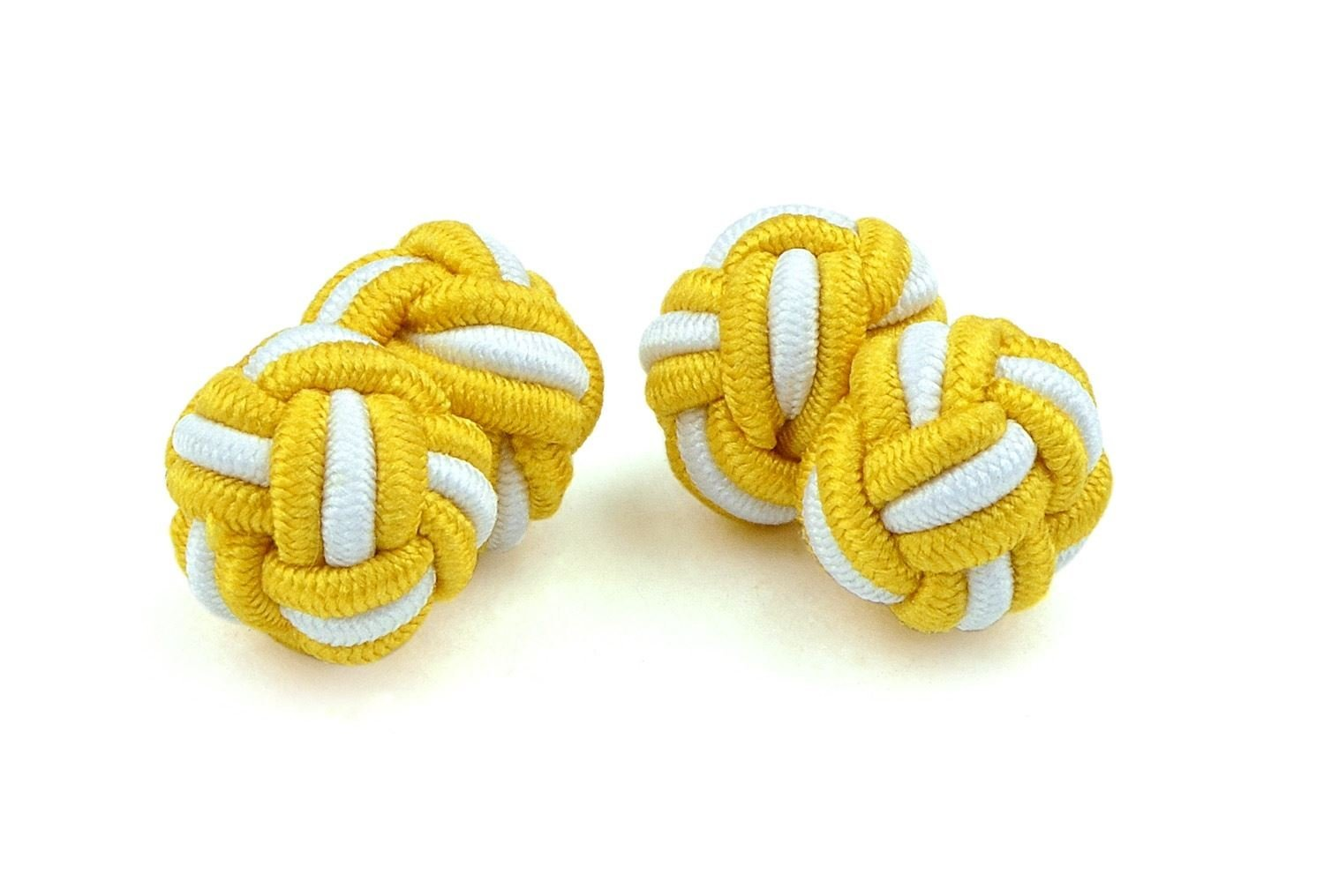 Moda Di Raza- Mens Shirt Cufflinks Silk Knot Designer Cuff links French Cuffs - Gold