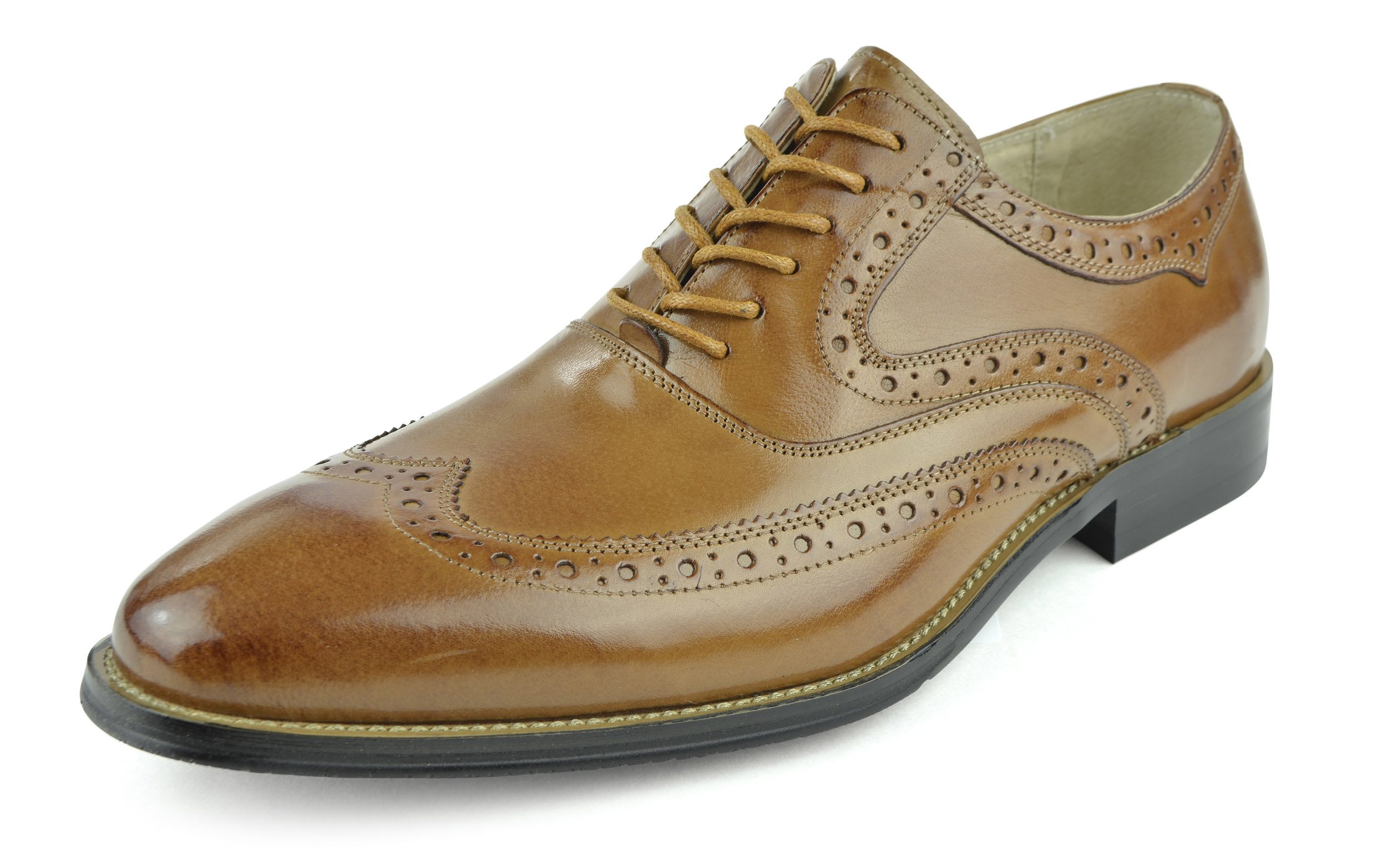 Moda Di Raza - Men's Oxford Lace Dress Shoes Sleek Trendy Light Shine - Tan/12