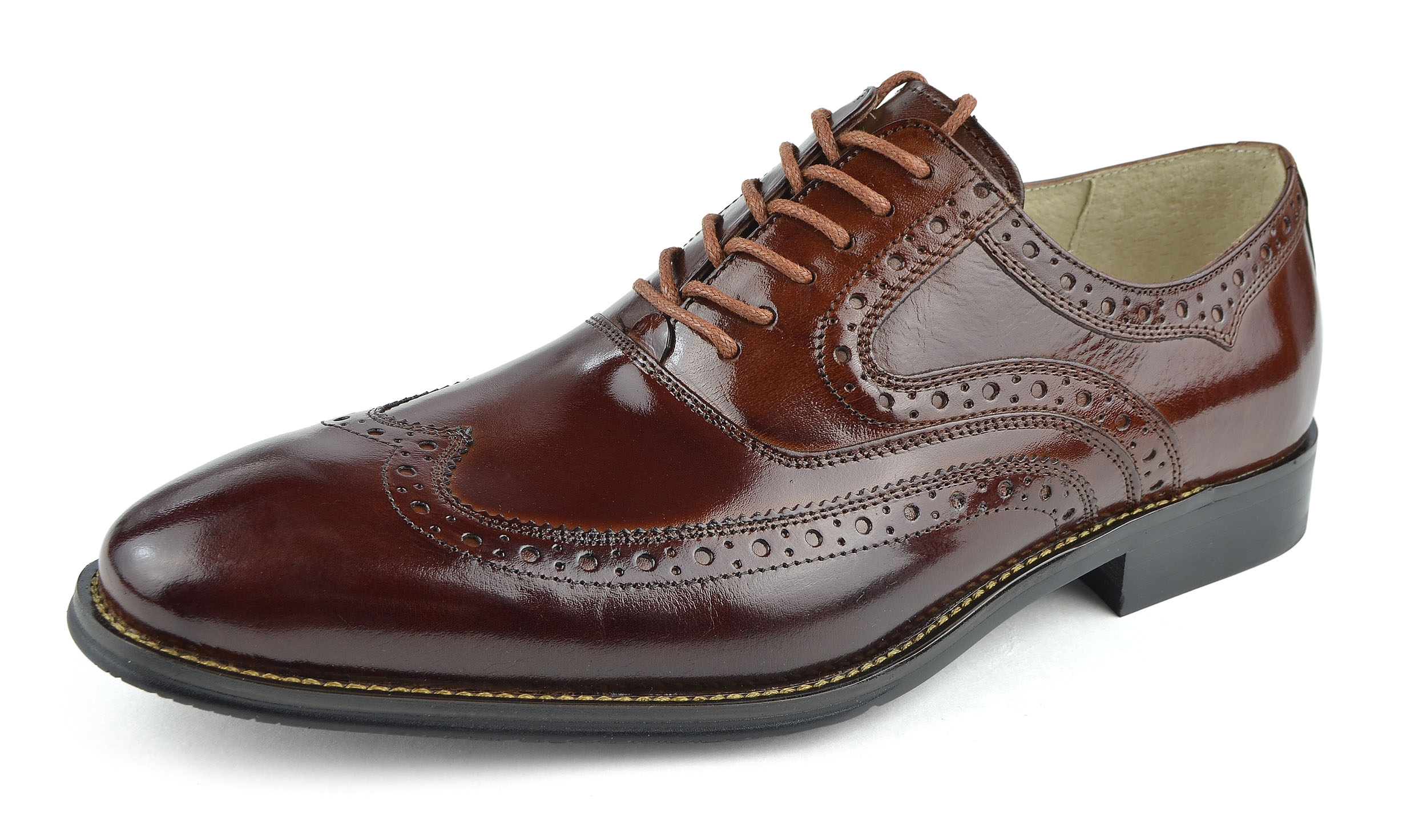 Moda Di Raza - Men's Oxford Lace Dress Shoes Sleek Trendy Light Shine - Cognac/10