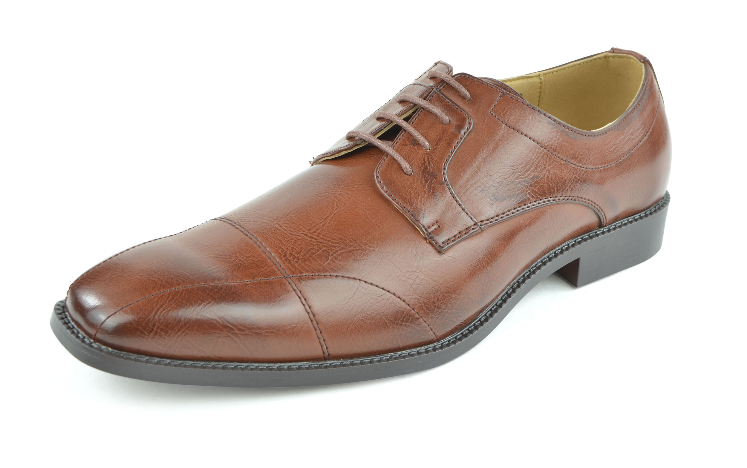 Moda Di Raza - Men's Modern Sleek Oxford Lace Shoes - Cognac - 6569/ Size: 11