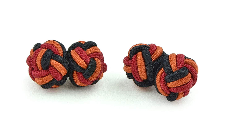 Moda Di Raza- Menâ'¬TMs Shirt Cufflinks Silk Knot Designer Cufflinks French Cuffs - Black