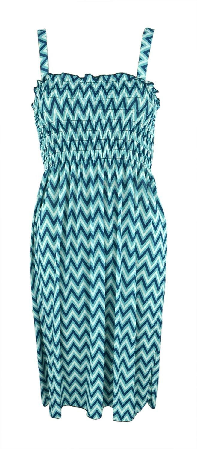 Belle Donne Women's Strap Chevron Print Dress - Turquoise - X