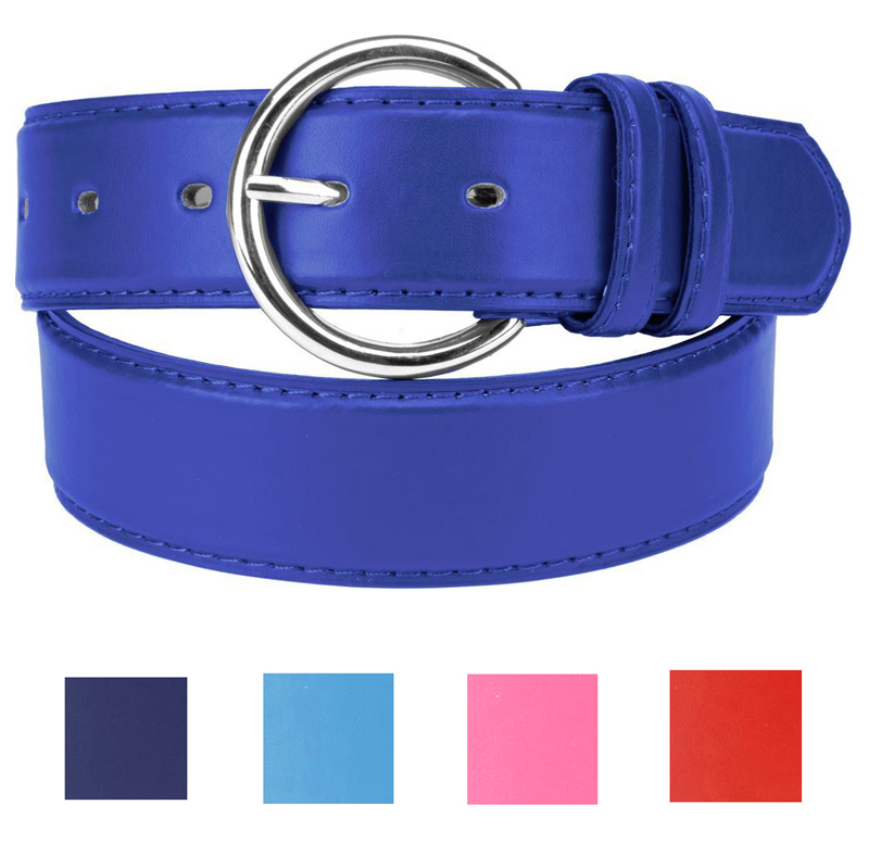 "Women's Faux Leather Solid Color - 1.25"" Belt w/ Round Metal Buckle"