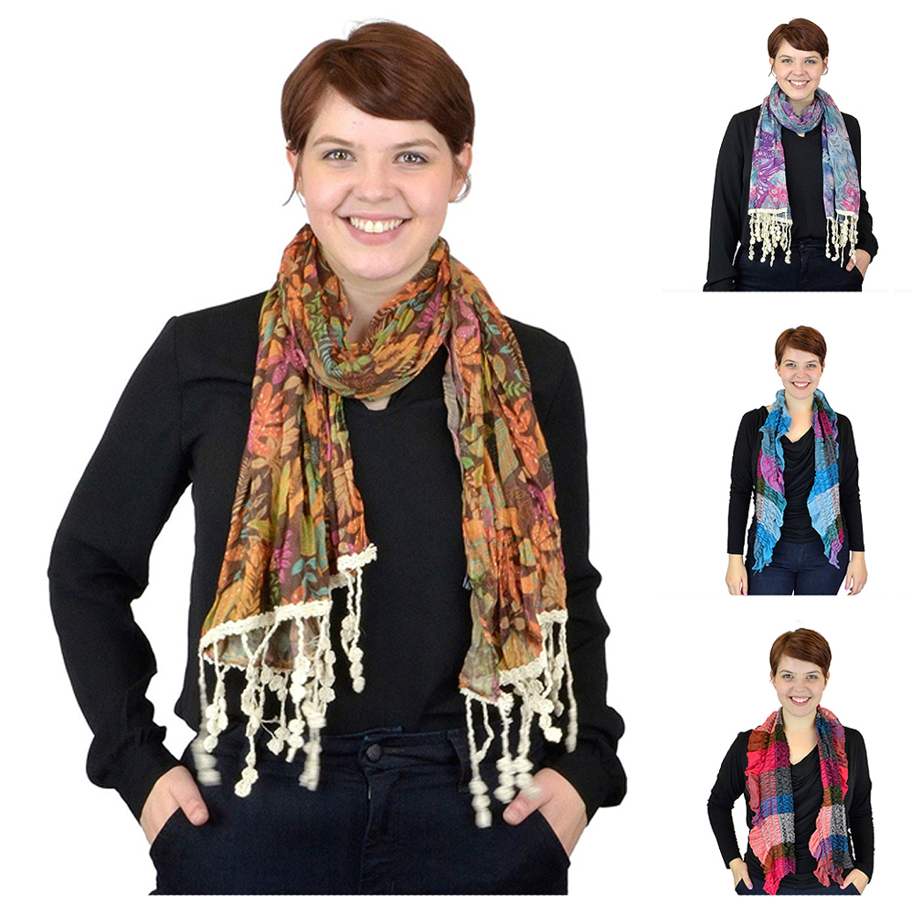 Belle Donne - Women's Scarves Mixed Style Multi Toned Plaid Ruffle Viscose Scarf