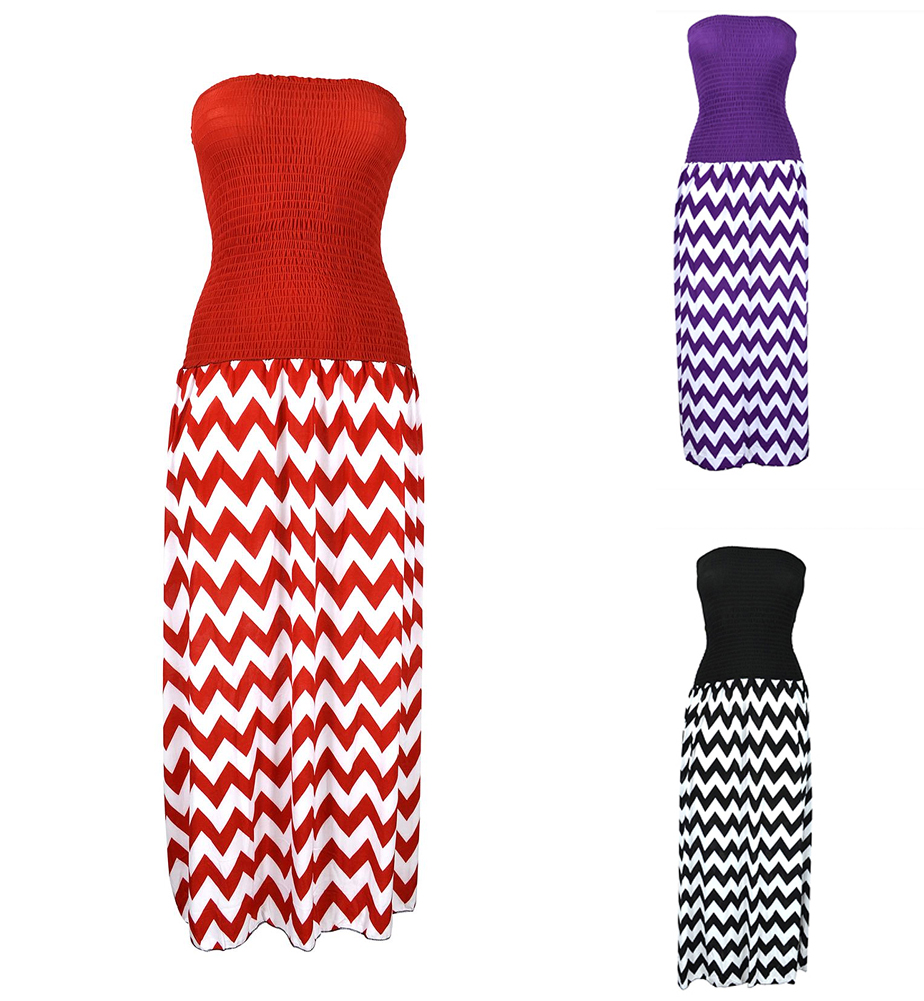 Belle Donne -Women's Tube Style Chevron Dress Casual Formal
