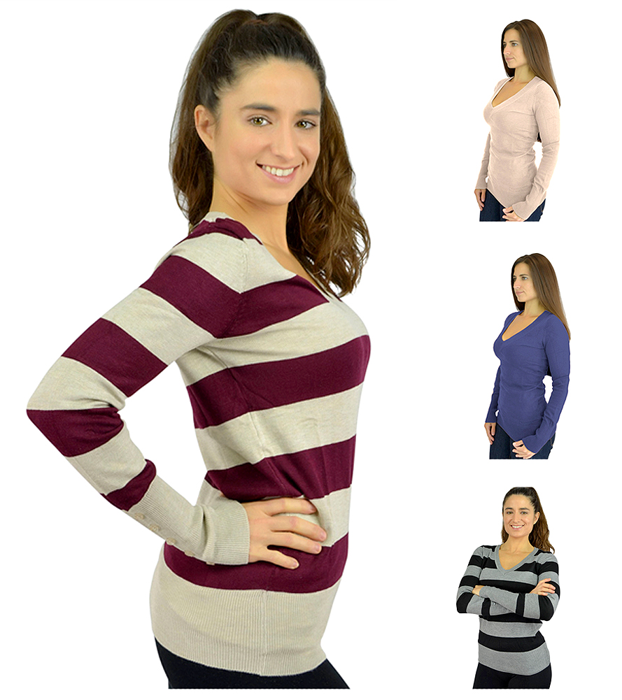 Belle Donne - Women's Long Sleeve V-Neck Sweater Pullovers Cotton Sweaters
