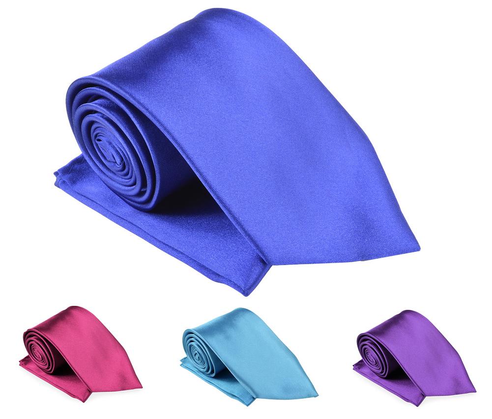 Belle Donne- Mens Necktie Solid Satin Silk Microfiber Woven Matching Handkerchief