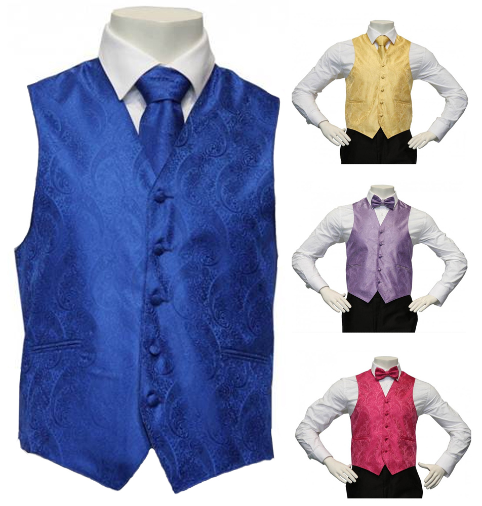 Amanti-Men's 4pc Set Paisley Tuxedo Vest -Tie-Hanky-Bow Tie-Matching Accessories