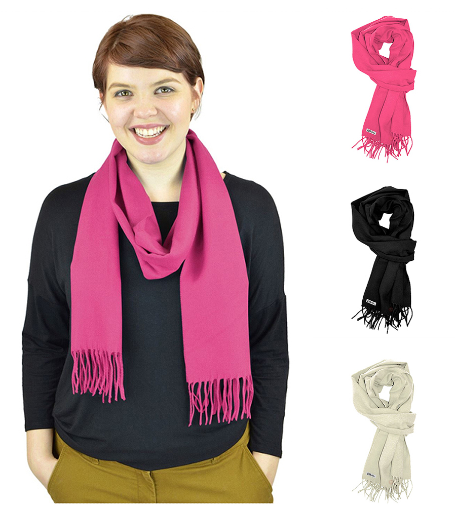 Libbysue - Women's Solid Color Cashmere Feel Winter Scarf